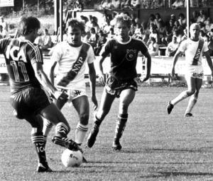 Bruno Jansson till vänster, och till höger syns Per Sundin. Bilden är från juli 1983.