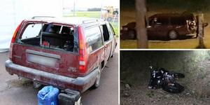 Männen hade bilen lastad med stöldgods när de kraschade in en villaträdgård i Enviken. Foto: Polisens förundersökning