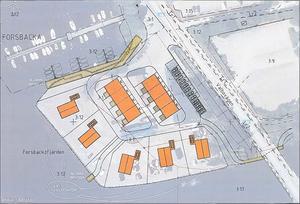 I förslag nummer fyra är promenadstigen flyttad till insidan av de yttersta fem tomterna. Den gamla kontorsbyggnaden rivs och ersätts av två flerfamiljshus.