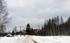 Olycksplatsen i Färnäs där tåget kolliderade med en cyklist.
