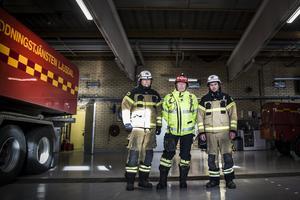 Fredrik Hillbom, Peter Nystedt och Olle Embretsén har många minnen från sommaren 2018, som kom att bli en stor prövning för Ljusdals räddningstjänst.