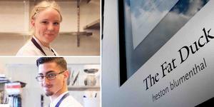 Klara Nordström och Kiriakos Sais Troberg, sistaårselever på Åre Hotell- och restaurangskola, åker snart till London för att träffa stjärnkocken Heston Blumenthal. Foto: Karin Fjaervoll / TT