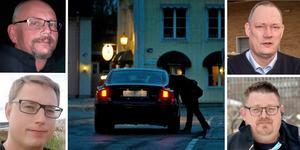 Peder Öst, taxiåkare i Sollefteå, Martin Sonidsson, taxiåkare i Örnsköldsvik, Åke Magnusson, taxiåkare i Härnösand och Ulrik Wågberg, taxiåkare i Sundsvall. Alla berättar om problematiken med konkurrens från svarttaxi.
