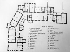 Bodaborgs sinnesslöanstalt. Källarvåningen, en våning av fyra.