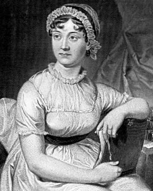 Porträtt på Jane Austen från 1873 utifrån en äldre teckning av hennes syster.