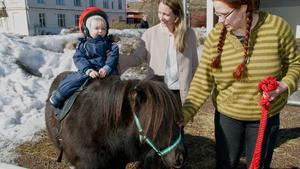 Levi fick prova ponnyridning för första gången och mamma Linn var självklart med.