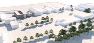 Så här är det tänkt att hus M ska se ut. Huset kommer att ha tre våningsplan och ha en gång över till hus B. Skiss: Sydnärkes utbildningsförbund