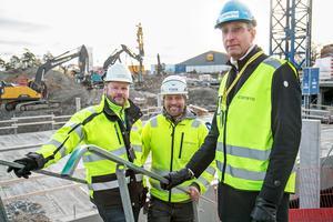Thomas Näslund, byggledare, WSP/Magnolia, Christian Olsson, arbetsledare, Consto AB, Martin Parck, projektutvecklare, Magnolia.
