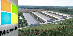 Bilden till höger visar det förslag till detaljplan som Sandvikens kommun tagit fram för bygget på en av fastigheterna i Tunaområdet. Detaljplanen ger utrymme för fyra intilliggande datacenter här. Bild: TT/Sandvikens kommun