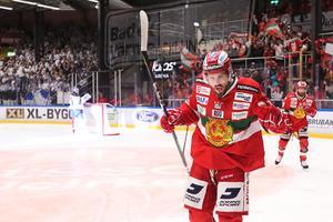 Mathias Bromé jublar efter 3–0-målet. Foto: Daniel Eriksson/Bildbyrån