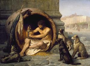 Utöver Aristoteles har den grekiske filosofen Diogenes betytt mycket för Martha Nussbaums tänkande. Diogenes är omgiven av legender om hur han bodde i en tunna,  levde tillsammans med hundar och aldrig tvättade sig. Det vi vet om Diogenes tänkande är att han förordade kosmopolitism och världsmedborgarskap.  Målning av Jean-Léon Gérôme från 1860.