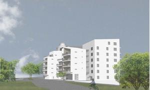 En skiss på de planerade husen vid Kumlasjön.