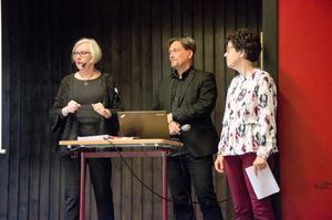 Eva Kempff, styrelseledamot i Sveriges hembygdsförbund Micke Lehorst, moderator, Irene Oskarsson. styrelseledamot i Sveriges hembygdsförbund