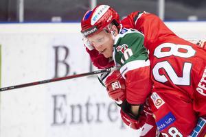 Dustin Gazley stod för två mål för sitt Mora IK, men det var Modo Hockey som gick vinnande ur matchen .