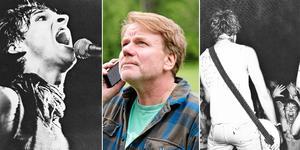 Ebba Grön, liksom Västeråsbandet TST, spelade när Nutida Musik arrangerade konserter i Västerås. Det kunde röra sig om spelställen som Bryggargården, Lögarängen och Djäkneberget. I mitten syns arrangören av lördagens minifestival Staffan Braw. Bild: Kjell-Åke Jansson
