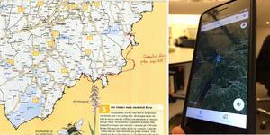 Till vänster länsstyrelsens länskarta med googles länsgräns inritad som den ser ut i exempelvis mobilappen.