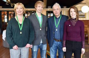 Ellinor, Markus, Jörgen och Ellinor Andersson firade senaste framgången på Mora hotell tillsammans med allehanda kunder och vänner.