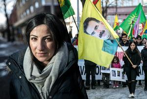 Fotomontage.Marscherade för folket i Afrin –