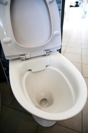 Toalett utan spolkant.