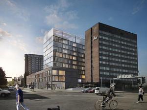 Det kommande hotellet sett från Storgatan.  Foto: Arkitektbyrån Krook & Tjäder