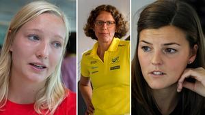 Från vänster: Moa Hjelmer, Karin Torneklint och Jenny Kallur. Bilder: TT Nyhetsbyrån.