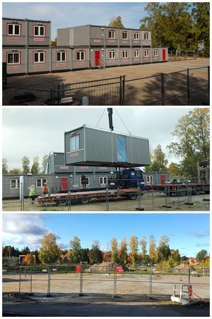 Slutet av september: 18 av 32 moduler/byggbodar på plats. Förra veckan: Modulerna lyfts bort. I söndags: Tomt igen. Bild: Mathias Jonsson / privat