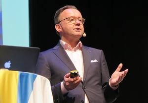 Karl-Henrik Sundström var en av talarna vid ett hållbarhetsseminarium i Lugnetkyrkan i torsdags. Foto: Stora Enso
