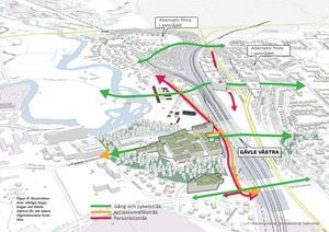 Karta som visar området runt den planerade tågstationen Gävle västra. Karta: Josef Rundström, Gävle kommun