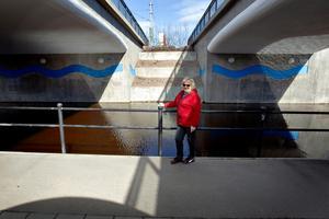 Mona Berg ville se hur den vattenfyllda vägen under järnvägen i Skutskär såg ut.