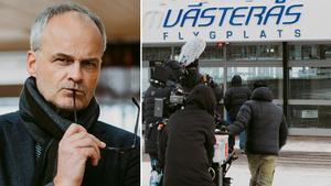 Johan Rheborg på inspelningen av Jonas Gardells miniserie