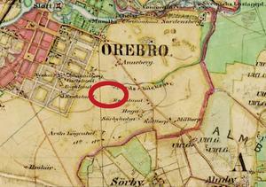 Kartan är från andra halvan av 1800-talet.  Vid den röda ringen kommer idrottsplatsen Eyravallen  att anläggas om några decennier.