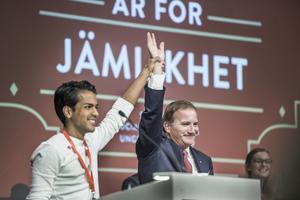 SSU:s ordförande Philip Botström och Stefan Löfven. Foto: Lars Pehrson / SvD / TT