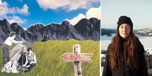 Christine Johanson med Åre i bakgrunden och hennes konst som hon skapar till det kommande magasinet EPOK