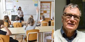 S-politikern Örjan Fridner (bilden) menar i sin replik att Fredrik Adolphson (C) försöker ge systemet med stafettlärare från bemanningsföretag  ett