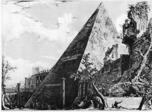 Giovanni Battista Piranesis etsning av Cestiuspyramiden i Rom.