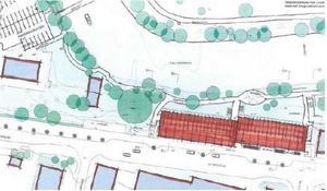 En skiss över hur området är tänkt att se ut med de nya husen. Bild: Sundsvalls kommun