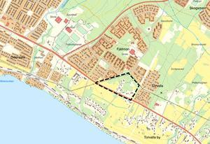 Här i Torvalla inom det streckade området intill Opevägen, vill kommunen bygga 20 nya småhus.