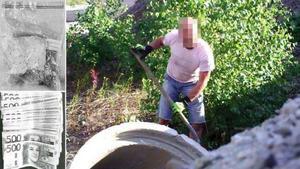 Här syns en av männen när han gräver fram narkotikan. Det var en hundägare som tipsade polisen sedan hon sett något hon uppfattade som konstigt i området. Polisen har också gjort flera beslag av kontanter. Foto ur polisens förundersökning.