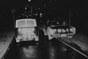 Polisbil vid högertrafikomläggningen 1967. Fotograf: Okänd