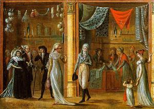 Stadsliv i Paris 1798. Målning av Philibert-Louis Debucourt.