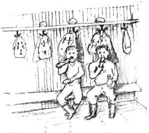 Den medhavda matsäckslunchen intogs i omklädningsrummet. Illustration: Arne E Erikson