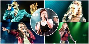 Tusse samt fyra av deltagarna i årets Talangjakt med vinnaren Ida i mitten.