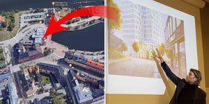 Under Science week i januari visade Jens Halvarsson, utvecklingschef på Stadsrum, upp skisser för nyfikna Södertäljebor. Här syns entrén sedd från Köpmangatan.  Foto: Monika Nilsson Lysell / Google
