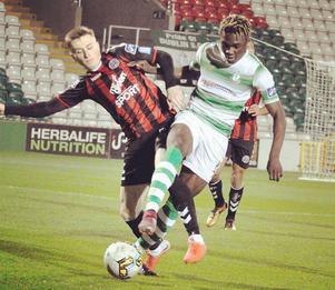 Emmanuel Lawal, nyförvärv till Ytterhogdal om övergången går igenom. Lawal har tillhört irländska Shamrock Rovers.