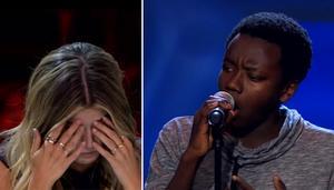 Tousin Chiza från Tällberg fick Talang-juryns Bianca Ingrosso att börja gråta med sin sång. Foto: TV4