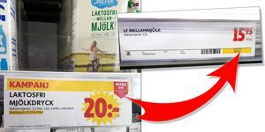 På kampanjprislappen står att den laktosfria mjölken från Skånemejerier kostar 20 kronor och att ordinarie pris är 20,95. Men när Ida lyfte på den såg hon att den ordinarie prislappen på hyllan visar att priset är 15,95. Det är också det hon tidigare betalat för mjölken. Foto: Privat