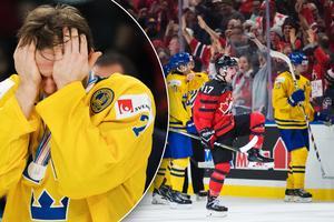 Sveriges Timothy Liljegren deppar till vänster, och Kanadas Tyler Steenbergen jublar efter sitt 2–1-mål till höger. Bilder: Joel Marklund/Bildbyrån.