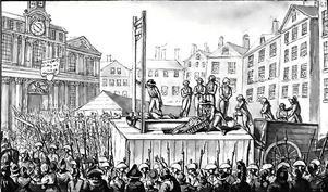 Avrättningar med giljotin 1793. Okänd konstnär.