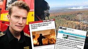 Flera amerikanska medier rapporterar nu om förslaget att släppa bomber över de stora skogsbränderna i landet, någonting som inspirerats av brandbekämpningen i Trängslet, som leddes av räddningschef Johan Szymanski. Bilden är ett montage.