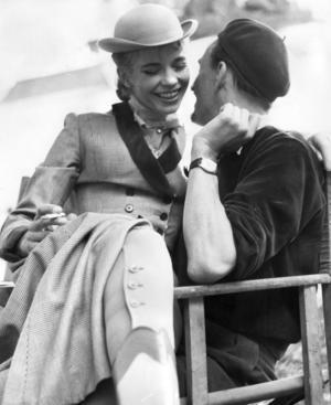 Margit Carlqvist och Ingmar Bergman under inspelningen av